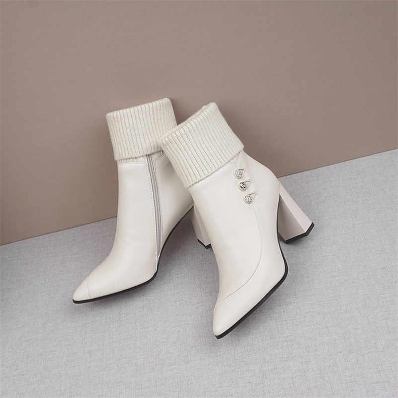 Meotina kış yarım çizmeler kadınlar doğal hakiki deri kalın topuk kısa çizmeler fermuar süper yüksek topuk ayakkabı bayanlar boyutu 39