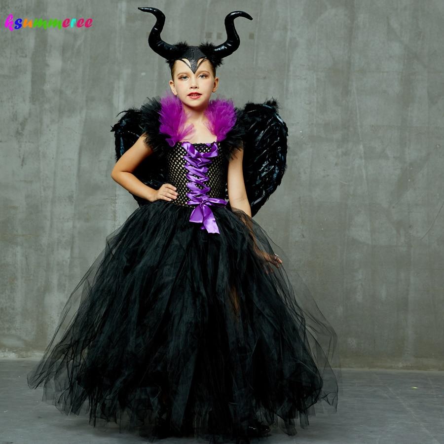 Kids Maleficent Evil Queen Girls Halloween Fancy Tutu Dress Costume Children Christening Dress Up Black Gown Villain Clothes 2