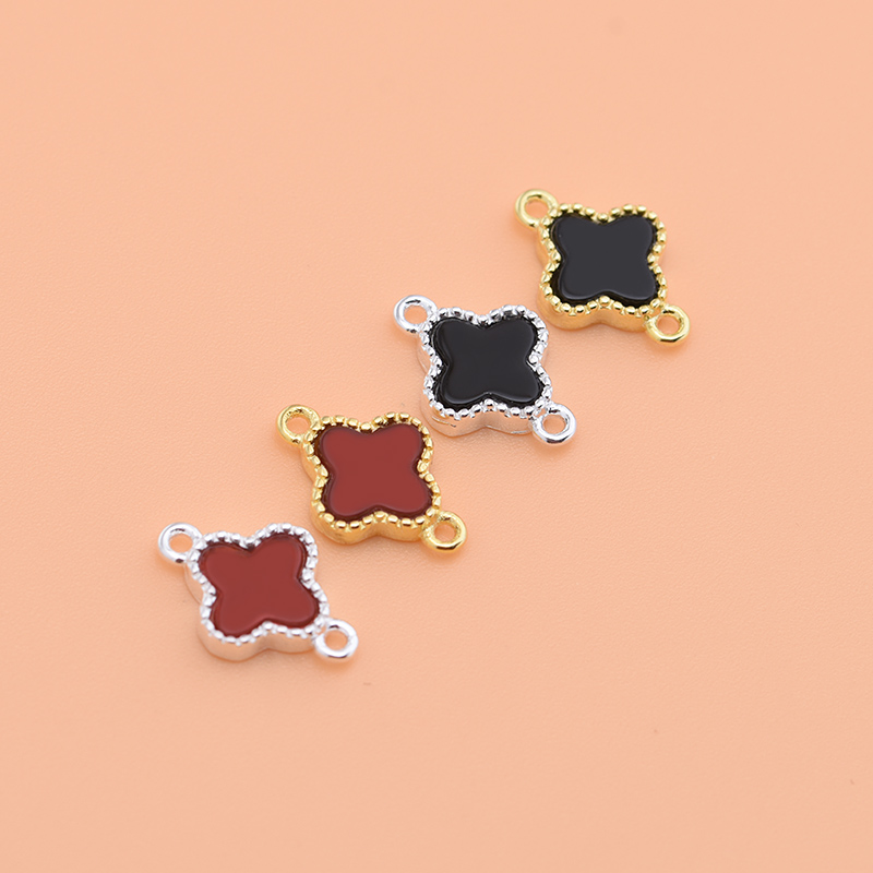 S925 sterling silver jewelry accessories red agate black agate clover double ring handmade DIY beaded material accessories