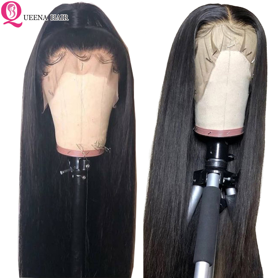 HD Transparent Lace Front Wig Brazilian Straight Human Hair Lace Frontal Wigs Pre Plucked Remy150%Middle Ratio Natural Black Wig