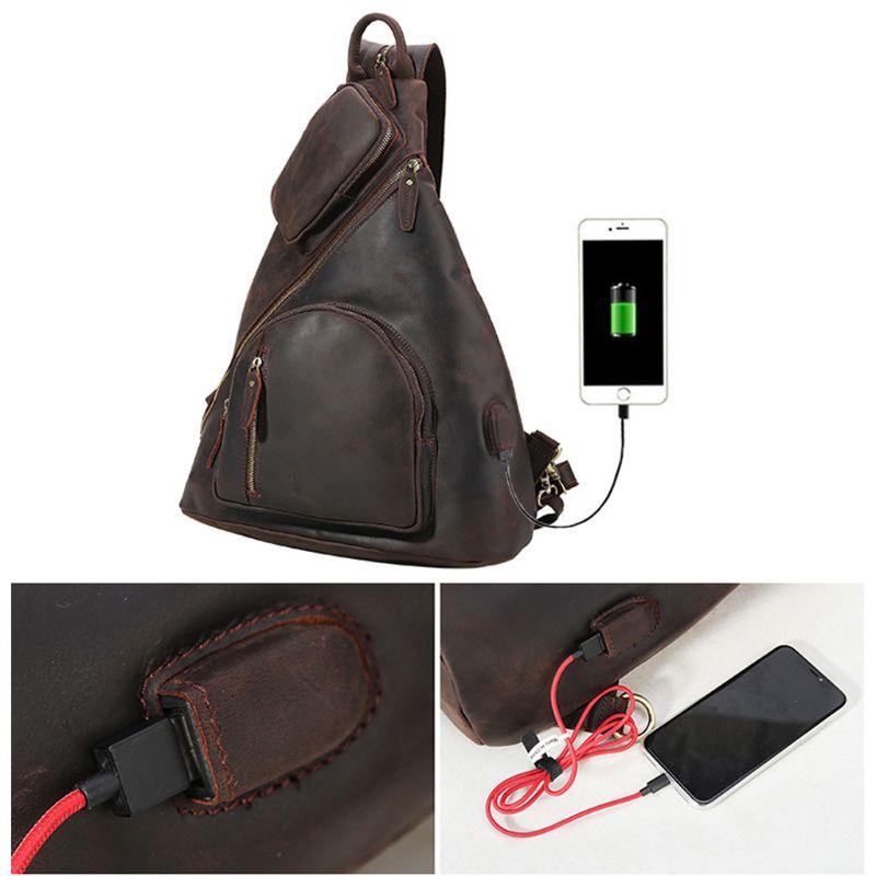 Homens Crossbody Do Vintage Bolsa de Ombro Funda No Peito Mochila de Viagem de Carregamento USB Esporte H8WD - 3