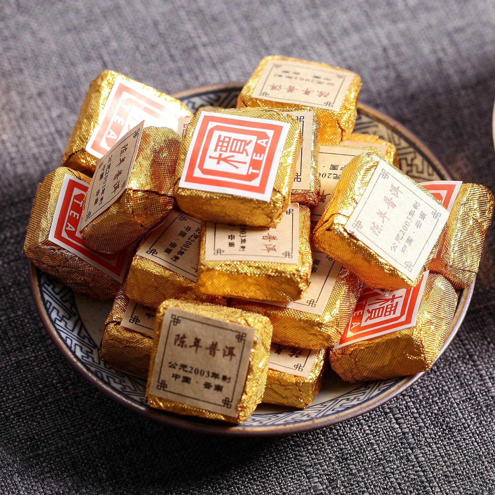 More Than 15 Years Old China MengHai Golden Bud Ripe Pu Er Tea 2003 Year Chinese Puer Tea Brick Cooked Pu Erh Tea Puerh Tea