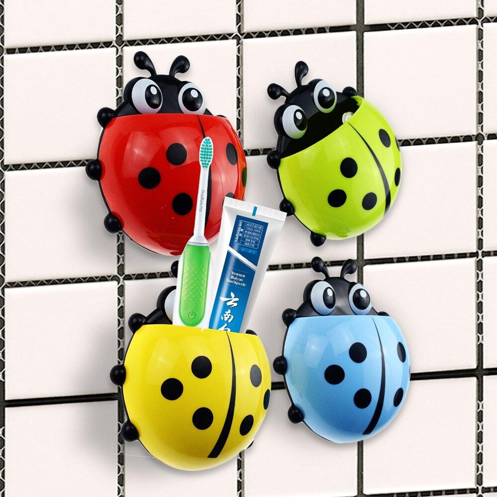 1PCS Ladybug Sucker Children Kids Toothbrush Holder Suction Hooks Toothbrush Wall Suction Bathroom Sets Red Yellow Blue Green