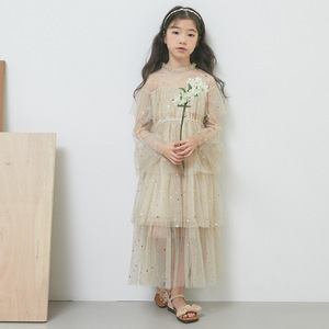 Image 5 - 4 to 16 Years New 2021 Spring Stars Sequins Girls Dress Lace Baby Princess Mother and Daughter Beautiful Clothes,#3995