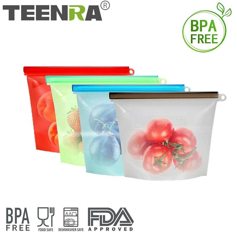 TEENRA 4Pcs Reusable Seal Silicone Food Fresh Bag Ziplock Food Storage Bag Vacuum Sealing Bag Refrigerator Container Tools