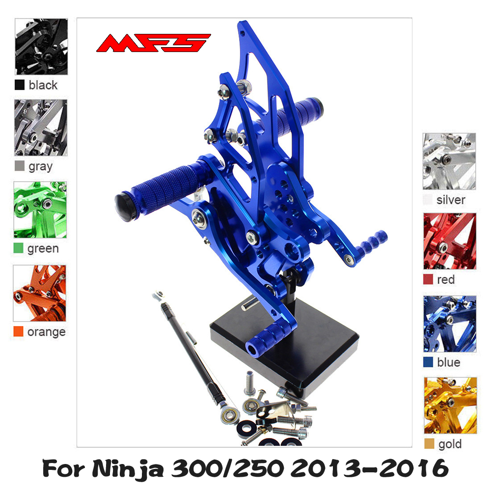 MFS Motorcycle Rearset CNC Adjustable Foot Pegs For Kawasaki Ninja <font><b>250</b></font> 300 <font><b>2013</b></font> 2014 2015 2016 Footrests Foot Rests Footpegs image
