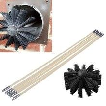 1 conjunto de escova de náilon com 6 pçs cabo longo flexível tubo hastes para chaminé chaleira casa limpeza kit ferramenta