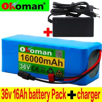 Bateria do rowerów elektrycznych 36 V 16AH wbudowana bateria litowa 20A BMS 36 V z akumulatorem Ebike 2A + ładowarka
