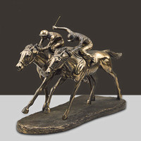 Bronzed Double Horse Racing High Grade Decoration New Cold Cast Copper Craft Office Living Room Creative Decoration A383