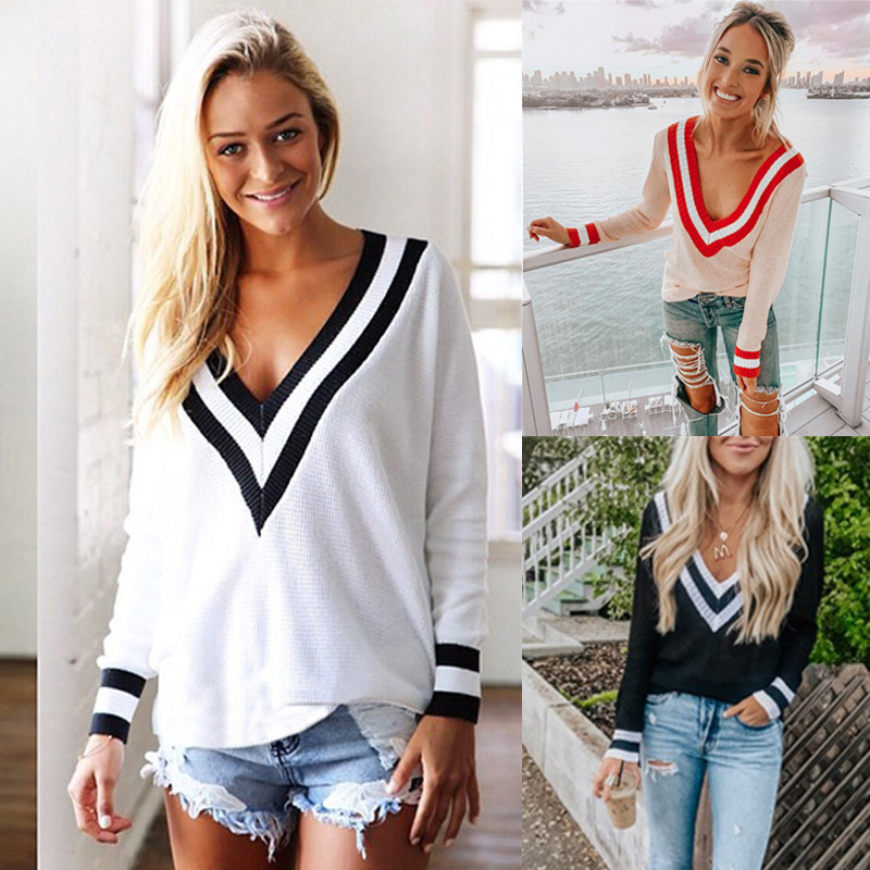 Pullover Sexy Deep V Collar Jersey Sweater Casual Long Sleeves Black White Stripe Women 2019Sweater Stitching Pull Femme Hiver