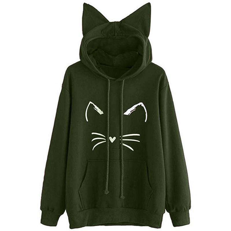 Nice automne femmes à manches longues mignon chat oreille à capuche pull sweat shirt col rond décontracté solide dessin animé chat imprimer sweat à capuche femme - 2