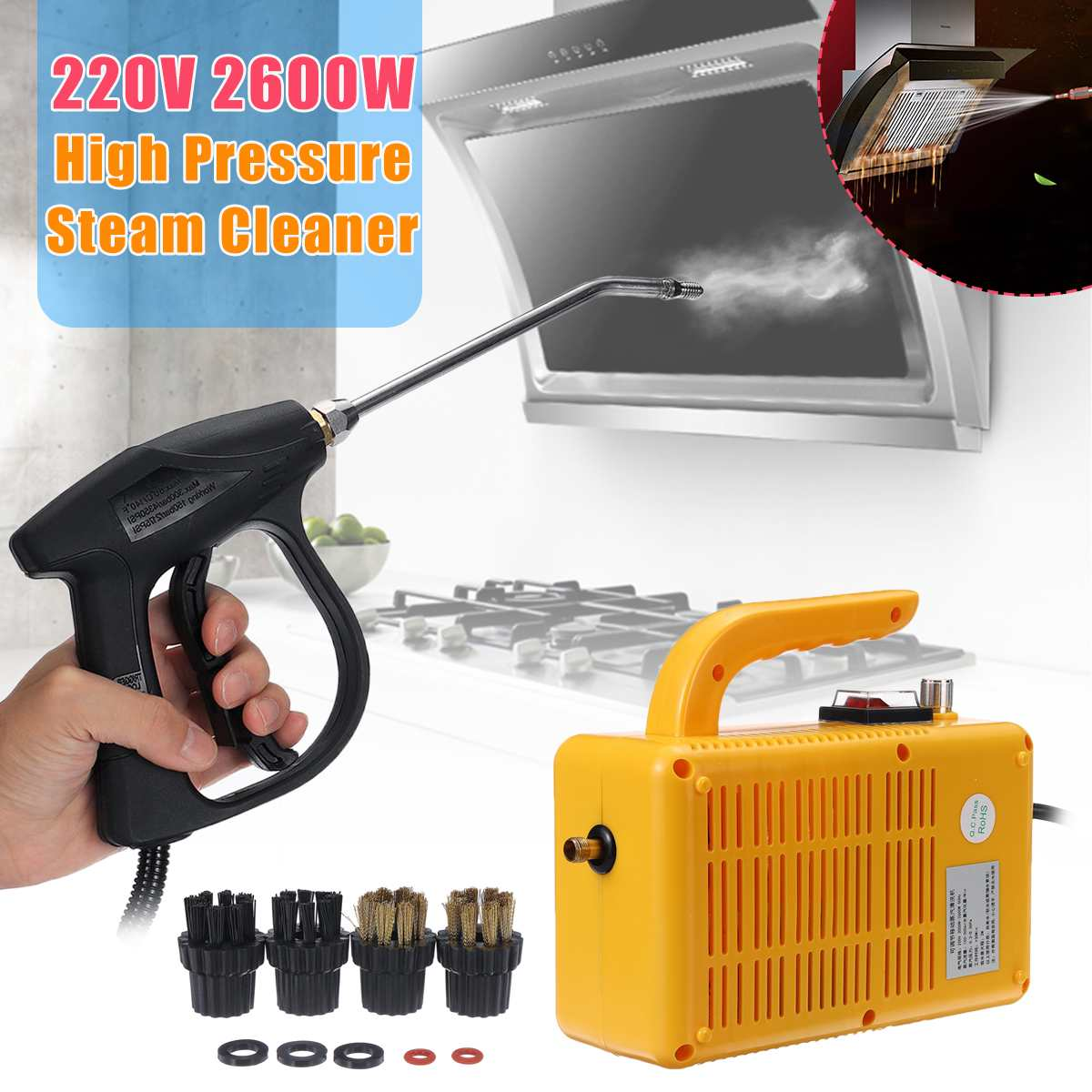 220V 2600W High Pressure Steam Cleaner Portable Electric Steam Cleaning Machine Household Cleaner Pumping Sterilization