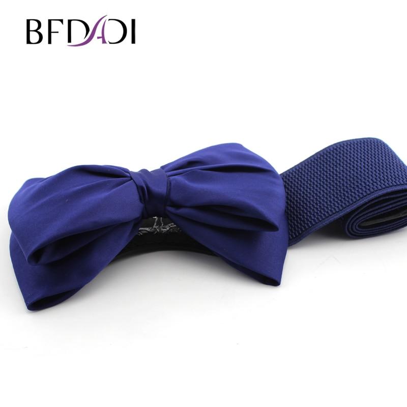BFDADI Cummerbund 2019 Most Fashion Women Candy Kinds Bow Belts All-match Wide Stretch Waist Elastic Cummerbund Free Shipping