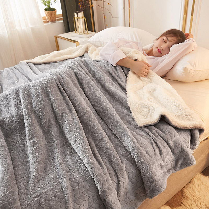 White gray fleece blankets and throws Adult Thick Warm winter Blankets Home Super Soft duvet luxury Blankets On twin Bedding(China)