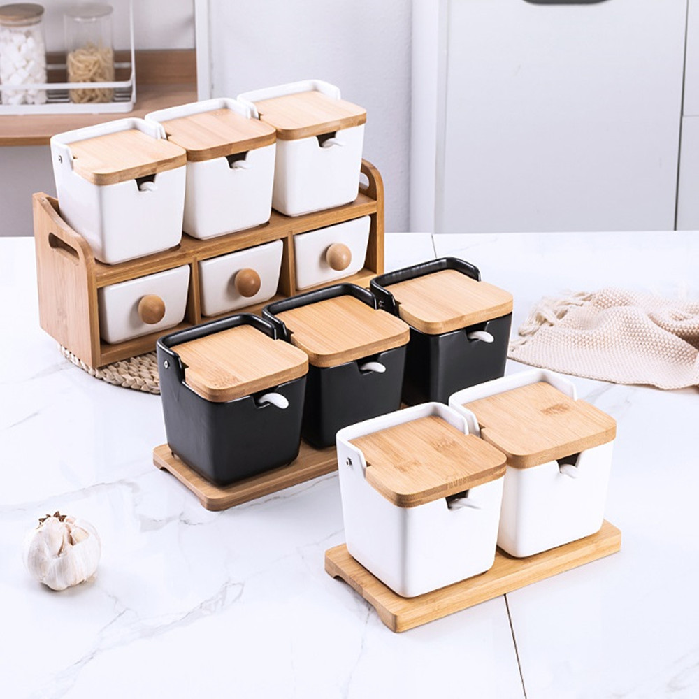 3pcs/set Salt Bottle Ceramic Seasoning Jar Ceramic Seasoning Boxes White Ceramic Seasoning Pot Bamboo Lid Salt Storage Kitchen