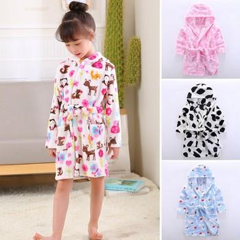 Szlafroki dziecięce flanelowa zimowa piżama dla niemowląt noworodki piżamy chłopięce dziewczęce piżamy ubrania dla dzieci w wieku 10-2 lat tanie i dobre opinie Poliester CN (pochodzenie) Szaty Flanelowe Unisex Cartoon
