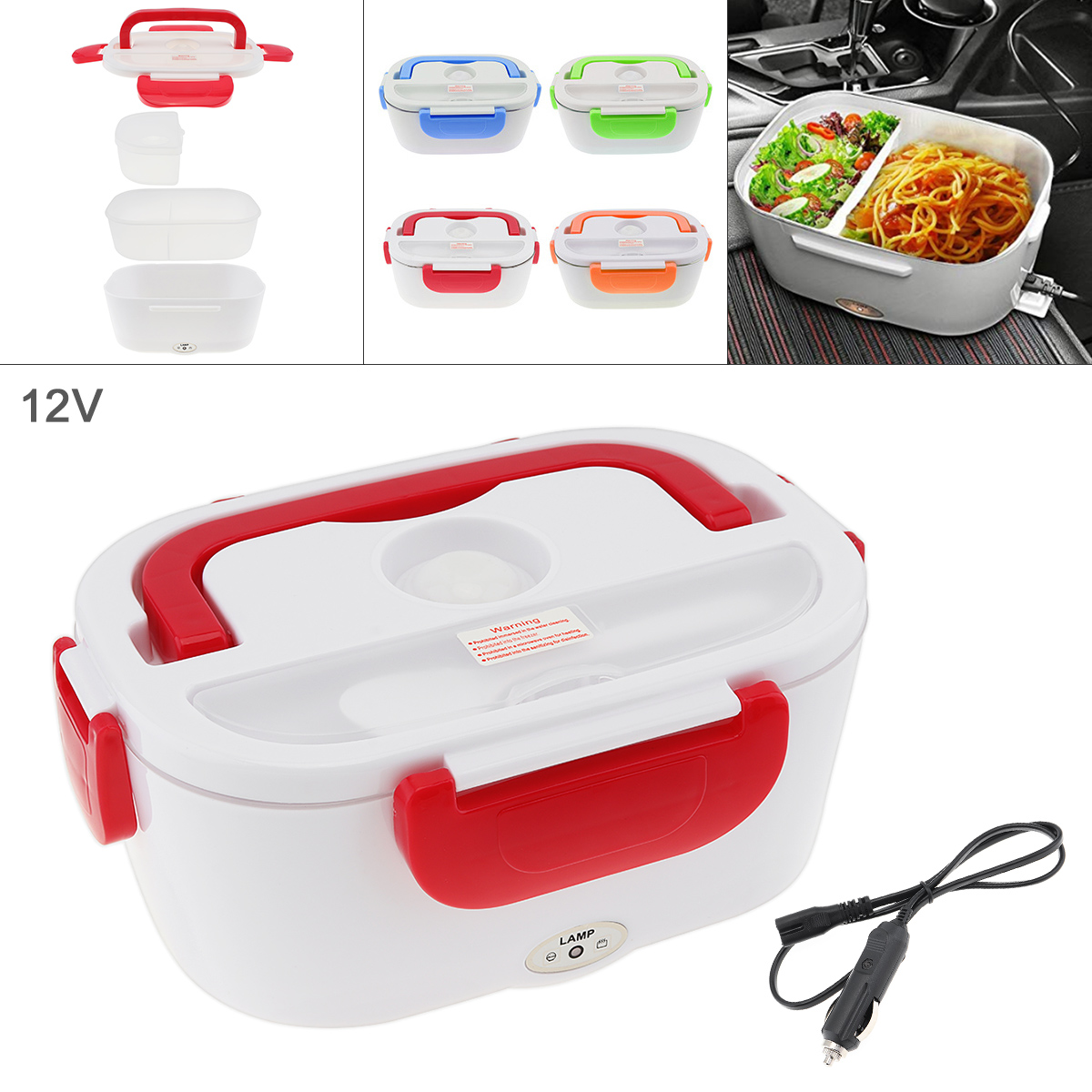 Portable 12V 1.5L Split-type Portable Food Warmer Heating Keeping Electric Lunch Box With Spoon / 12V Charging Line For Car