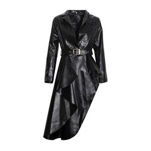 Image 4 - Twotwinstyle puレザー女性のトレンチラペル襟長袖サッシ不規則な裾ウインドブレーカー女性2020ファッション秋