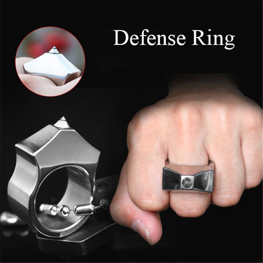 1PC Self Defense Finger Ring Tungsten Steel Defense Ring Women Men Outdoor Emergency Survival Broken Window Self-Defense Ring