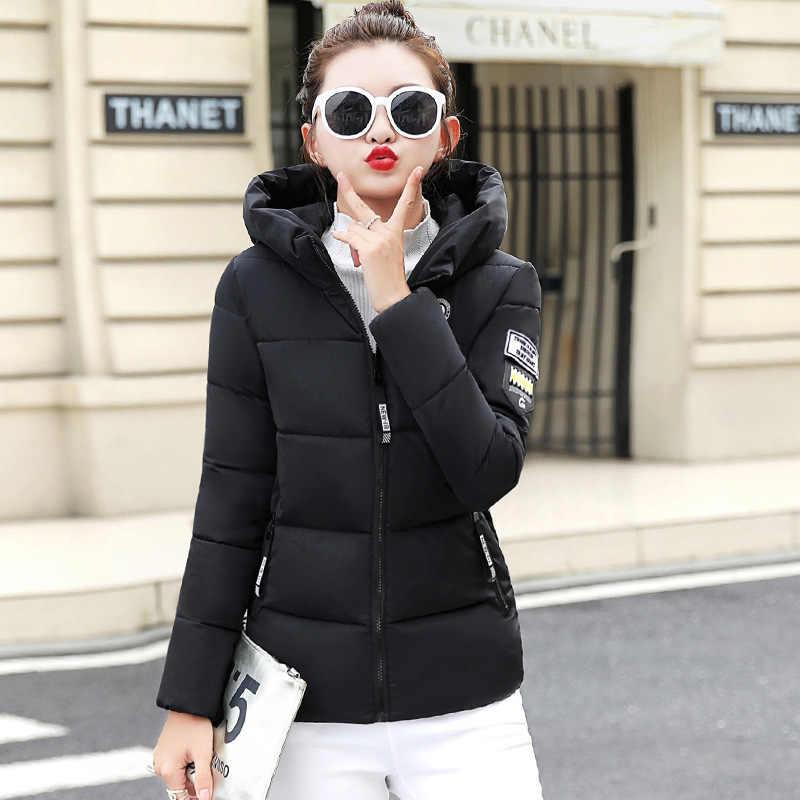 5XL 2020 Winter Vrouwen Hooded Down Jacket Casual Lange Mouwen Ritsen Korte Bovenkleding Vrouwelijke Koreaanse Warme Jas Tops Plus size