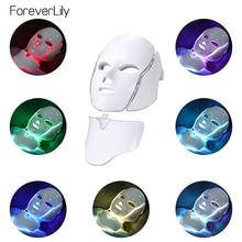 Boîte masque Facial + cou, léger, 7 couleurs, pour le rajeunissement de la peau, soin de beauté, Anti acné, pour le blanchiment, LED
