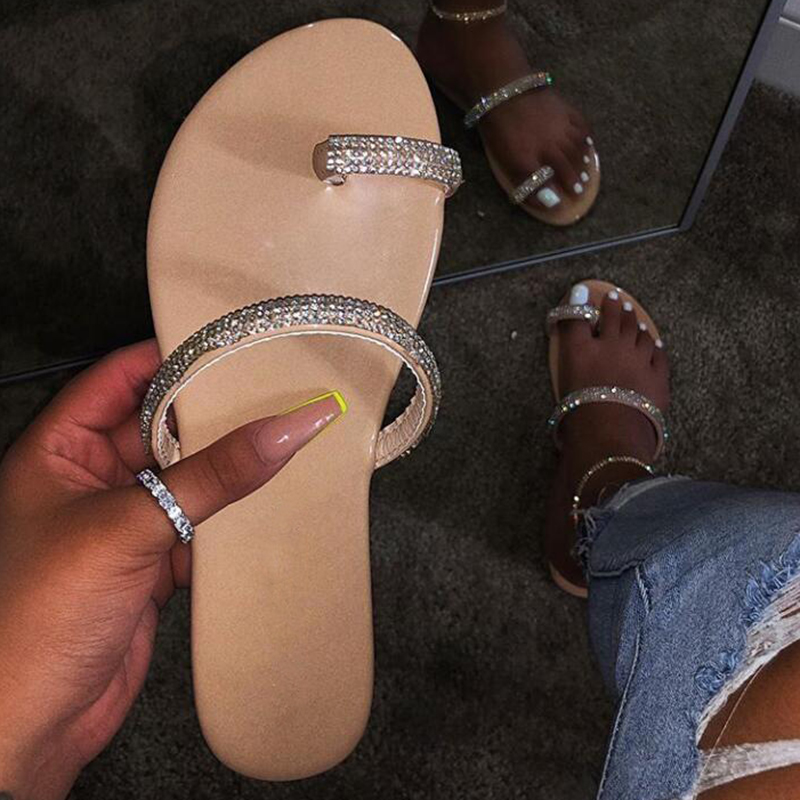 Fashion Pop Diamond Sequins EVA Women's Sandals Candy-colored Sexy PVC Flat-bottom Beach Ladies Slippers