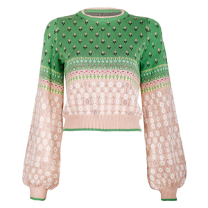Image 5 - Women Jacquard Knit Cropped Sweater 2019 Autumn Latern Sleeve Lurex Color Block Pullover Fresh Crop Jumper Sueter Mujer Invierno