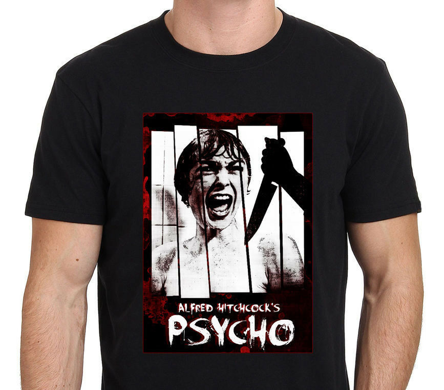 PSYCHO ALFRED HITCHCOCK Classic Horror Movie Art Tee Men's T-Shirt Size S to 3XL image