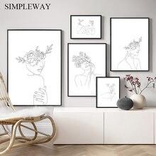 Einfachheit Linie Zeichnung Poster und Druck Schwarz Weiß Abstrakte Blume Frau Kunstwerk Leinwand Malerei Wand Kunst Bild Home Decor