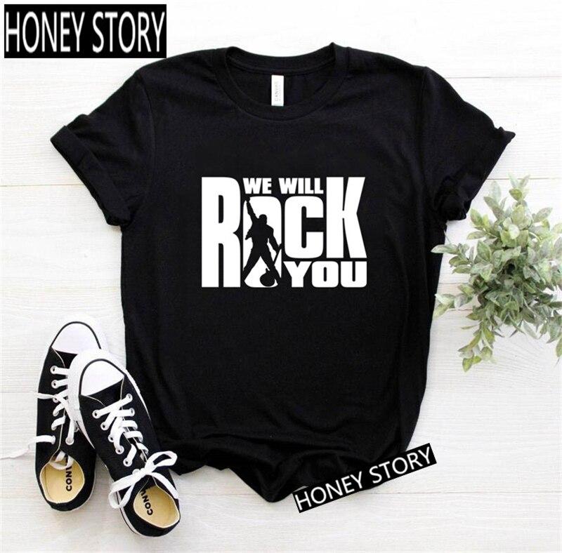 Летние брендовые Модные топы с надписью рок для девушек, женские футболки Freddie Mercury, Королевский ремешок, черные футболки, женские футболки с...