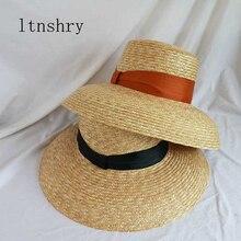 2019 Summer Ribbon hat Wide side sun cap Women Wheat Panama style Straw Hats 11cm Brim Holiday Beach Hat Ladies Sun Cap