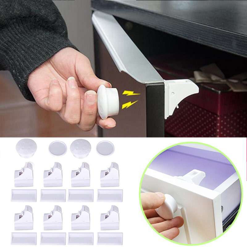 Magnetic Baby Safety Locks Children Protection Security Invisible Drawer Cabinet Locks Magnetic Locking System Kids Security