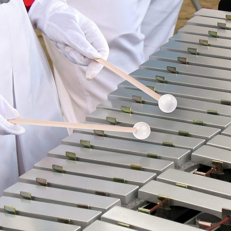 1 Pair Of White Hard Rubber Drum Sticks Mallets Beaters Percussion Parts Glockenspiel Sticks With Wooden Handle Energy Bell Wood