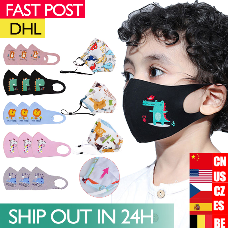Cute PM2.5 Washable Mouth Mask With Valve Kids Children Anti Haze Mask Nose Filter Face Muffle Bacteria Flu Respirator
