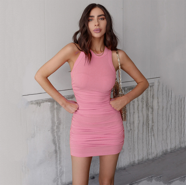 Women Solid Sleevess Dress Summer Casual Fashion Ruched One Piece Dress Stylish Stretchy Dress Sexy Bodycon Party Clothes 4