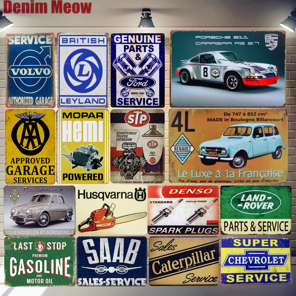 Gasoline Plaque Vintage Metal Tin Signs Home Bar Pub Garage Spark Plugs Decorative Iron Plates Wall Stickers Art Poster ZSS13 image