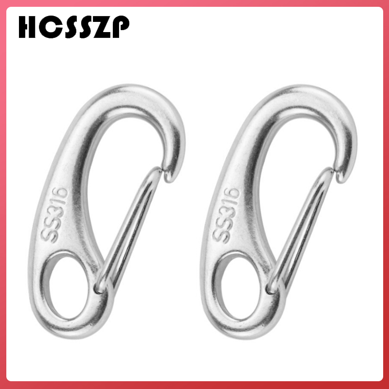 2 Pcs 50mm Egg Shape Spring Snap Hook Clips Boat Marine Stainless Steel Quick Link Carabiner Buckle Eye Shackle Lobster Claw-in Marine Hardware from Automobiles & Motorcycles
