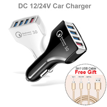 4 USB Quick Charger 3.0 Car Adapter 7A QC3.0 Turbo Fast Charging Auto Mobile Phone for iPhone Xiaomi