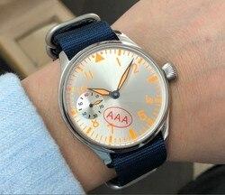 Szafirowe 44mm srebrzyste tarcze pomarańczowe numery oranger luminous Asian 6497 mechaniczny ruch męski zegarek gr341-g8