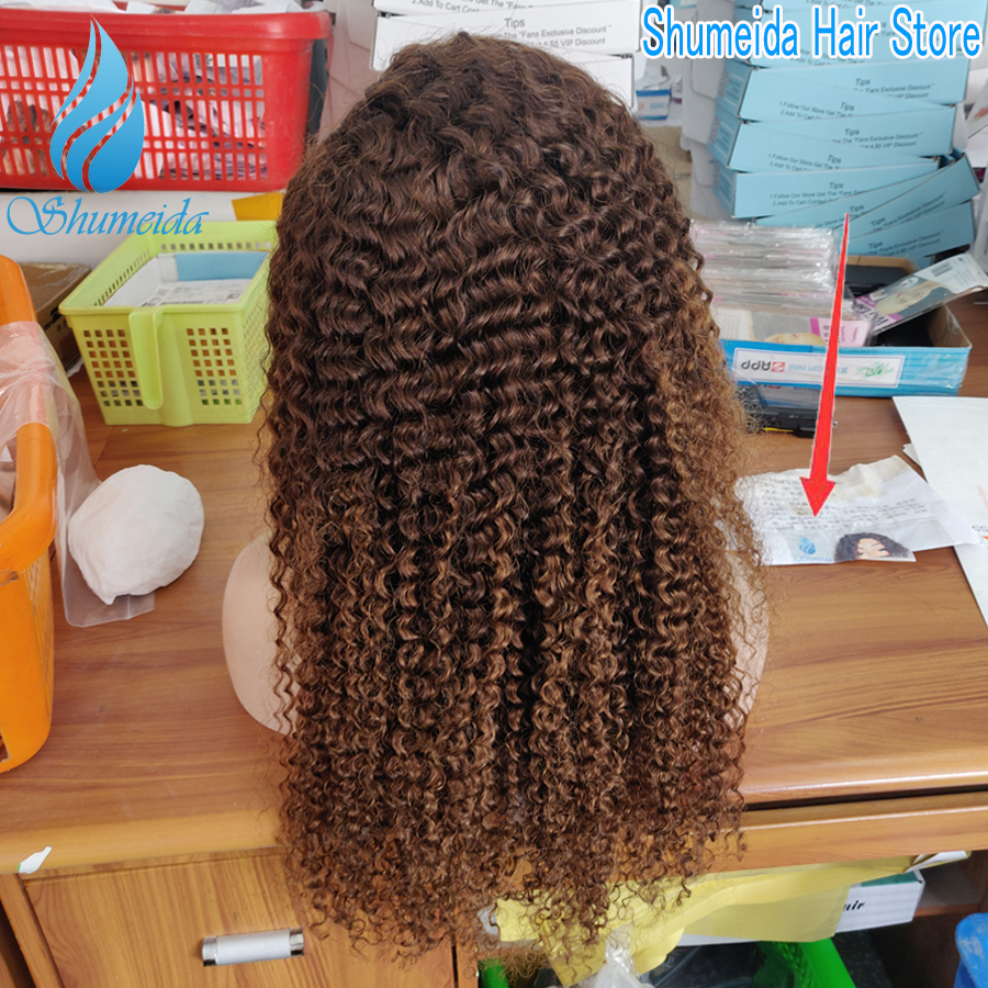 SHD Ombre Color Lace Front Wig with Baby Hair Brazilian Kinky Curly Human Hair Wigs for Women Remy Hair Glueless Lace Wigs 4