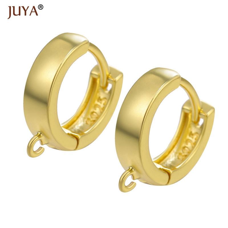 Supplies For Earwire Jewelry DIY Earring Material Round Hoop Earrings Clasps Hooks Fittings 1 Pair