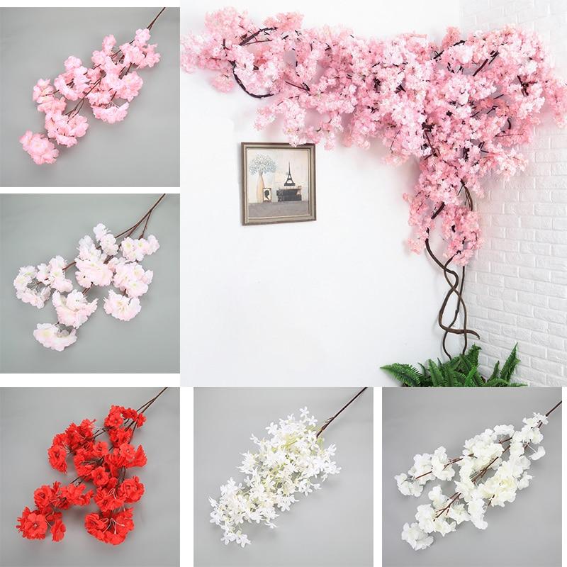 Вишневое дерево, искусственные цветы 120 см, шелковая высокая имитация, Свадебный домашний декор, Осенние украшения, Прямая продажа с фабрики