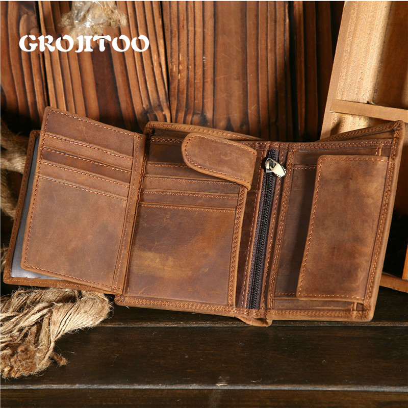 GROJITOO Crazy Horse Wallet Cowhide Leather Men Wallet Multi-card Holder Genuine Leather Wallet Large Capacity Vintage Purse Men