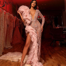 2020 Sparkly Beaded Prom Dresses Long Sleeve Deep V Neck Ruffled Chic Evening Dress Sexy High Split Formal Party Gowns Bling