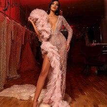 2020 Sparkly Perlen Prom Kleider Langarm Tiefem V ausschnitt Geraffte Chic Abendkleid Sexy High Split Formale Party Kleider bling