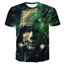 2020 new 3D men's messenger skull summer T-shirt quick drying shorts casual long sleeve T-shirt brand fashion street