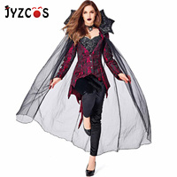 JYZCOS Halloween Vampire Cosplay Costumes Count Queen Women Top Pants Stand Collar Mesh Cloak Theme Party Devil Costume Outfit