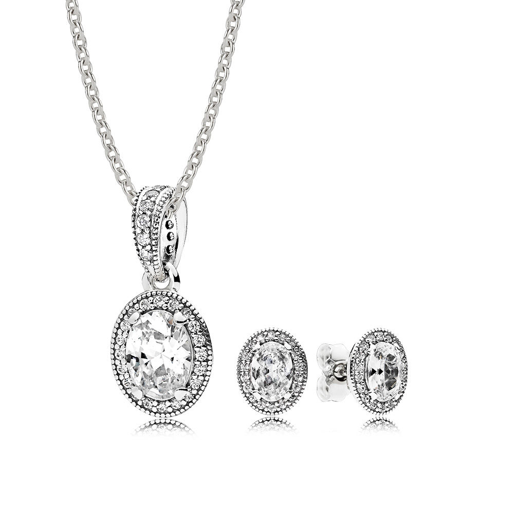 NEW Book Di 100% 925 Sterling Silver Vintage Elegance Gift Set Fit Charm Original Necklace Woman Jewelry Two Pieces Of Set