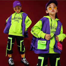 Kids Hip Hop Clothing Outfits Green Hoodie Tactical Vest Casual Pants Girls Boys Ballroom Jazz Dance Costume Clothes Street Wear(China)