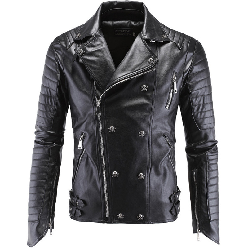 Boutique Punk Leather Jacket Men New Skull Motorcycle Leather Jacket Multi Zippers Slim Fit Men Leather Jacket PU Clothing M-5XL